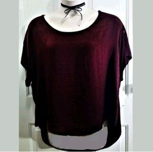 Self Esteem Red Wine Knit & Crushed Velvet Top